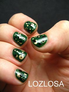 Today on LOZLOSA: Liz is sporting a Green, Gold, and Black Dotticure! Find out what Stargate SG1, Fresca, and Coonie the Tail-less Raccoon have in common with this mani, by clicking through.