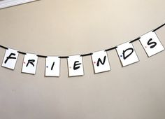 Friends TV Show Themed Party Banner. The banner measures approx 5 feet long. (Depending on how many letters you need) You can personalize up to 10 characters. Each additional character is $2.00 each. Please include your personalization in a note when ordering. Ships in 3-5 business days. Message me if you have any questions.  *No substitutions*  Add matching cupcake toppers https://www.etsy.com/listing/468185245/friends-tv-show-themed-cupcake-toppers  All items ship USPS First Class…
