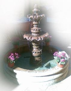 This extraordinary architectural stone fountain, handmade with round basin and free standing. In colonial state of Michoacan between town of Quiroga and Patzcuaro we produce hand carved stone fountains. Stone Fountains, Pond Waterfall, Water Garden, Water Features, Basin, Hand Carved, Mexican, Carving, Rustic