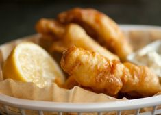 Fish and Chips:  1 lb of perch filets  1 12-oz can of beer  1 1/2 cups flour  1/2 tsp salt  Extra flour for dredging