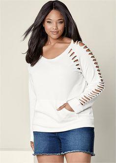 Venus Women's Plus Size Slash Detail Sweatshirt Lounge - White , Old Sweatshirt, Sweatshirt Refashion, Sweatshirt Makeover, Diy Cut Shirts, Diy Clothes And Shoes, Beach Clothes, Diy Shorts, Cut Sweatshirts, Cut Off Jeans