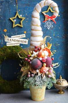 """Купить Топиарий-елка """"Санта2"""" - елка, подарок, топиарий, сувенир, подарок на новый год, Дерево счастья"""