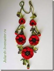 poppy crocheted necklace