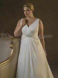 Chiffon V-Neck A-Line Plus Size Wedding Dress