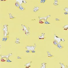 Dogs In Clogs Wallpaper A humorous and quirky children's wallpaper featuring various animated dogs cheekily parading in their owners' shoes. Printed in charcoal, red, blue and white on a yellow background.