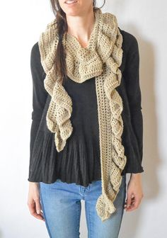 This is a super easy crocheted scarf pattern that features a gorgeous, flowing ruffle! Easy enough for the adventurous beginner!