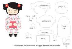 Molde Kokeshi - Floral - Moldes de EVA - Feltro e Artesanato