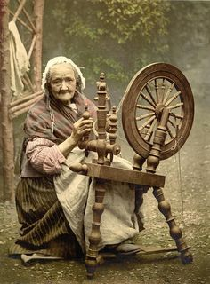 Elderly Irish Spinner Working Outdoors Photograph