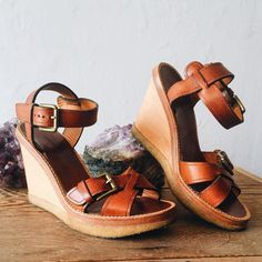 "These sandals have us craving summer brunches and beach days. // Isabel Marant high heeled wooden wedge sandals with brown leather straps and metal buckles crepe soles 4"" heel and 1"" platform size EU 38 or IS 8 $138. // To purchase call the store  at 512-524-0166 and pay over the phone or comment below with your email and let us know if you will pick up in the store or will need domestic/international shipping (tell us which state or country). The first person to pay their invoice gets the…"