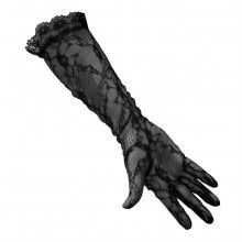 BLACK GOTHIC SEXY BURLESQUE FLORAL LACE LONG FULL HAND FANCY DRESS OPERA GLOVES