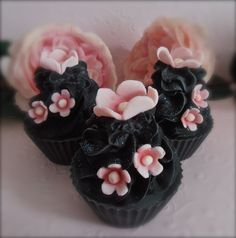 Handmade Cupcake soap by moi' coloured with natural charcoal and fragranced with an unforgettable sexy blend.