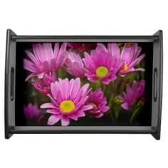 Cheery Daisies on Black Border Tray from Florals by Fred #zazzle #gift