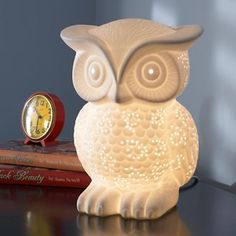 """Nocturnal Nightlight...""""owl lamp is ready to pull an all-nighter for your kid."""" Cute."""