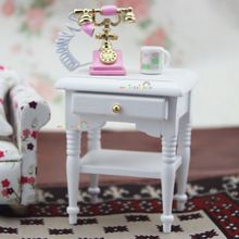 Sofa Side Coffee Table w/Drawer for Bedside Lamp White 1 12 scale dollhouse furniture Wooden toys(China (Mainland))