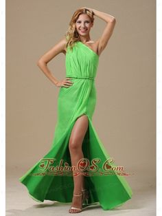 High Slit Spring Green One Shoulder and Ruched Bodice For Prom Dress  www.fashionos.com  This beautiful one shoulder spring green dress sculpts the body in all the right places. This dress is so gorgeous, it would even make Cinderella jealous! Features include irregular ruching and deep side slit. Sweet elegance for your special event. The long floor length skirt is amazing and surprising.