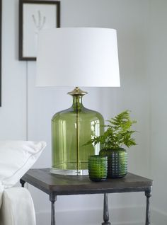 Greenery - Pantone color of Greenery glass accents can keep your interior easily updated to the trends.Love the glass lamp in green. Deco Paris, Pantone Greenery, Interior Decorating, Interior Design, Modern Interior, Home Modern, Bedroom Lamps, Bedroom Lighting, Bedroom Themes