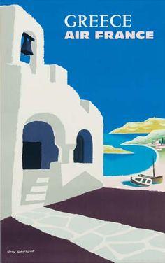 Air france art print featuring the digital art 1959 air france greece travel poster by retro Retro Poster, 1950s Posters, Old Posters, Vintage Travel Posters, Poster Poster, Poster Wall, Movie Posters, Air France, France Art