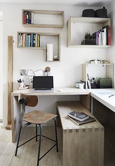 Cool home office with wooden furniture and smart organization and storage solutions.