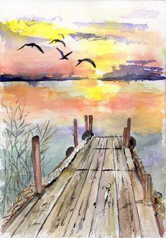 watercolor easy paintings landscape water painting lake dock simple cartoon district uploaded user beginner