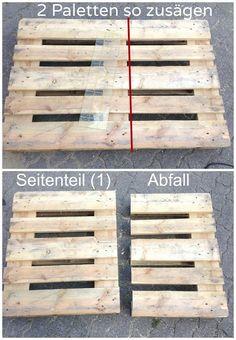 Möbel aus Paletten bauen - Anleitung - Möbel aus Paletten bauen – nichts leichter als da. Hier findet ihr die Anleitung zu Möbeln aus E - Palette Furniture, Diy Furniture Couch, Building Furniture, Diy Pallet Furniture, Diy Pallet Projects, Pallet Ideas, Cheap Furniture, Recycled Pallets, Wood Pallets