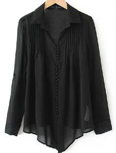 Black Lapel Long Sleeve Single Breasted Pleated Chiffon Shirt