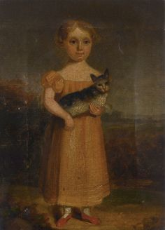GIRL WITH A CAT by ENGLISH SCHOOL 19TH CENTURY - original artwork for sale | Chris Beetles