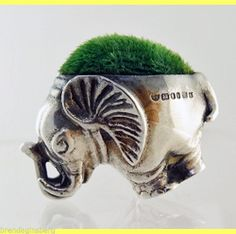 Antique Sterling Silver Pin Cushion Elephant form Miniature London (#5570)