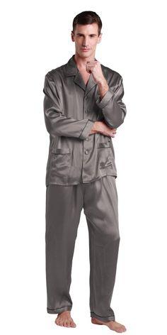 162f032dad Lilysilk Long Silk Pajamas Set Men 22 Momme Contrast Trim 100% Pure Silk  Dark Gray - XXL 44-46