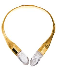 Vionnet gold quartz necklace