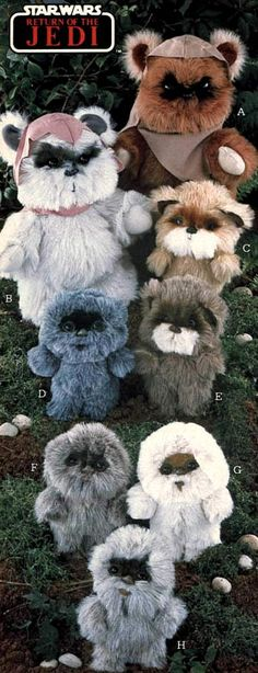 Star Wars Ewok stuffed animals from a 1984 catalog. #1980s #toys http://www.retrowaste.com/1980s/toys-in-the-1980s/