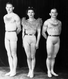 The Flying Concellos, Flying Trapeze. Left to right: Eddie Ward (catcher), Antoinette Concello,