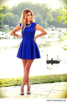 Cobalt Blue Dress.. Why don't I have this color? Would be longer if I wore it