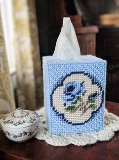 Tissue Box Cover/Elegant Blue Rose | Etsy Plastic Canvas Stitches, Plastic Canvas Coasters, Plastic Canvas Tissue Boxes, Plastic Canvas Crafts, Plastic Canvas Patterns, Diy Arts And Crafts, Crafts To Make, Holiday Canvas, Fuse Bead Patterns