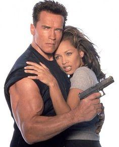 Arnold Schwarzenegger and Vanessa Williams for Eraser (1996).