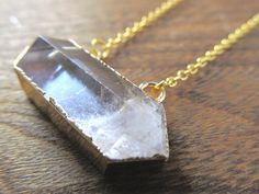 Quartz Necklace - Gold Plated Hexagonal Clear Quartz  Pendant - Gemstone Necklace Gold Chain - Long Layering Necklace - Healing Crystal - pinned by pin4etsy.com