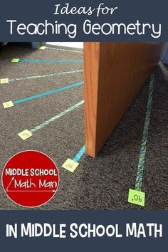 This post includes a number of creative ideas for teaching geometry concepts in the middle school math classroom, including angles, … Teaching Geometry, Teaching Math, Math Classroom Decorations, Middle School Activities, Middle School Classroom, Middle School Stem, Classroom Board, Classroom Fun, 8th Grade Math