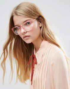 ASOS | ASOS – Runde Geeky-Brille in Rosa mit transparenten Gläsern