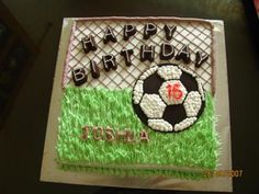 Football Cake: This football cake design I got it from the net.  For the ball I use the chocolate transfer method.  Mylar Balloon - Soccer
