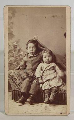 1870's Native American Ottawa Indian Children CDV Photograph Hidden Mother | eBay