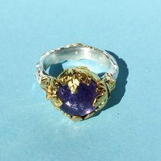 Ring 22 karaat gouden blaadjes , tanzaniet. Gemaakt door Wouter de Gruijter