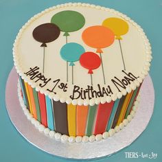 Fondant Stripes And Balloons 1st Birthday Cake By Beverlys Bakery Round Cakes Bday