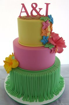 Hawaiian themed birthday cake