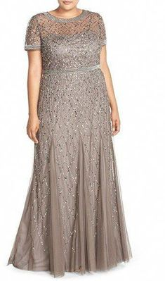 Plus Size Women s Adrianna Papell Beaded Gown Size Plus Size Party Dresses, Plus Size Gowns, Evening Dresses Plus Size, Plus Size Outfits, Dressy Dresses, Short Dresses, Curvy Fashion, Plus Size Fashion, Xl Mode