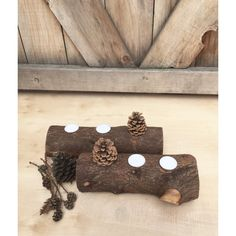 2 PC Fireplace Log Candle Holders, Log Tea lights, Reclaimed Tree... ($44) ❤ liked on Polyvore featuring home, home decor, branches home decor, tree branch centerpieces, log home decor, log centerpieces and branch centerpieces