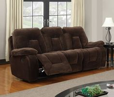 Champion Chocolate Wood Leather Reclining Sofa