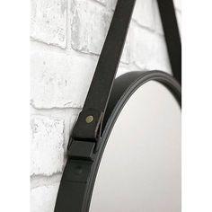 wandspiegel spiegel schwarz rund mit eco leder g rtel zum aufh ngen modern 50cm in m bel. Black Bedroom Furniture Sets. Home Design Ideas