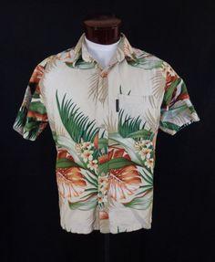 Vintage Hot Ocean Tropical Scene Bark Cloth Luau Hawaiian Shirt- Large -VLV #HotOcean #Hawaiian #VLV