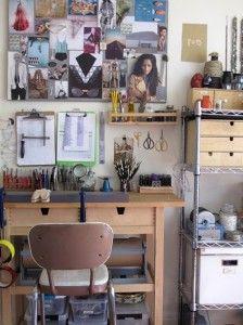 Home office. Note the ikea spice rack. Banco Ikea, Workshop Studio, Studio Organization, Blog Deco, Space Crafts, Craft Space, Creative Studio, Creative Suite, Diy Storage