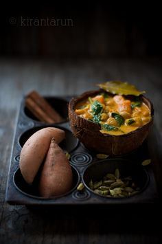 love the lighting here... Sweet Potato, Chickpeas & Spinach Curry #recipe