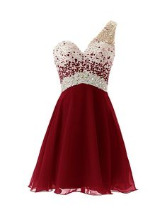 Dresstells One Shoulder Homecoming Dress with Beadings Short Bridesmaid Dress Burgundy Size 10 from Amazon